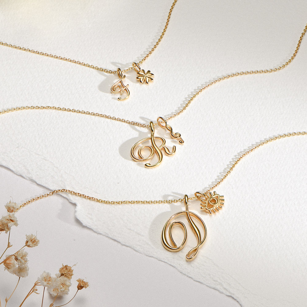 Nina Large Initial Musical Necklace - Gold Vermeil - 1
