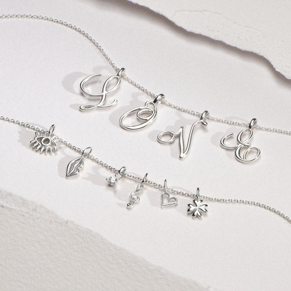 Nina Medium Initial Necklace - Silver - 1