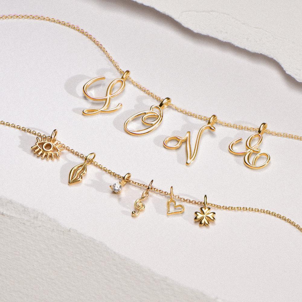 Nina Medium Initial Necklace - Gold Plating - 1