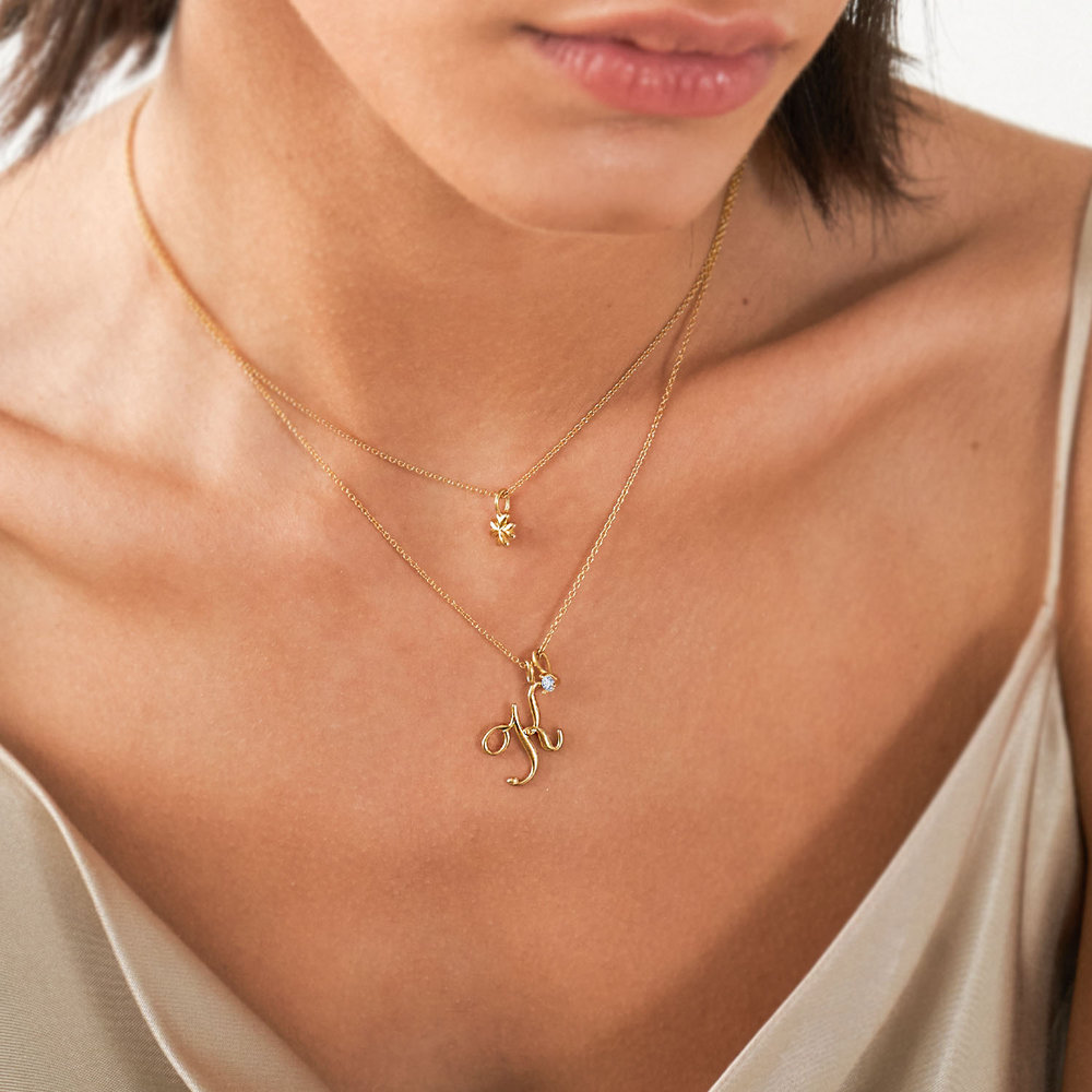 Nina Medium Initial Necklace - Gold Plating - 2