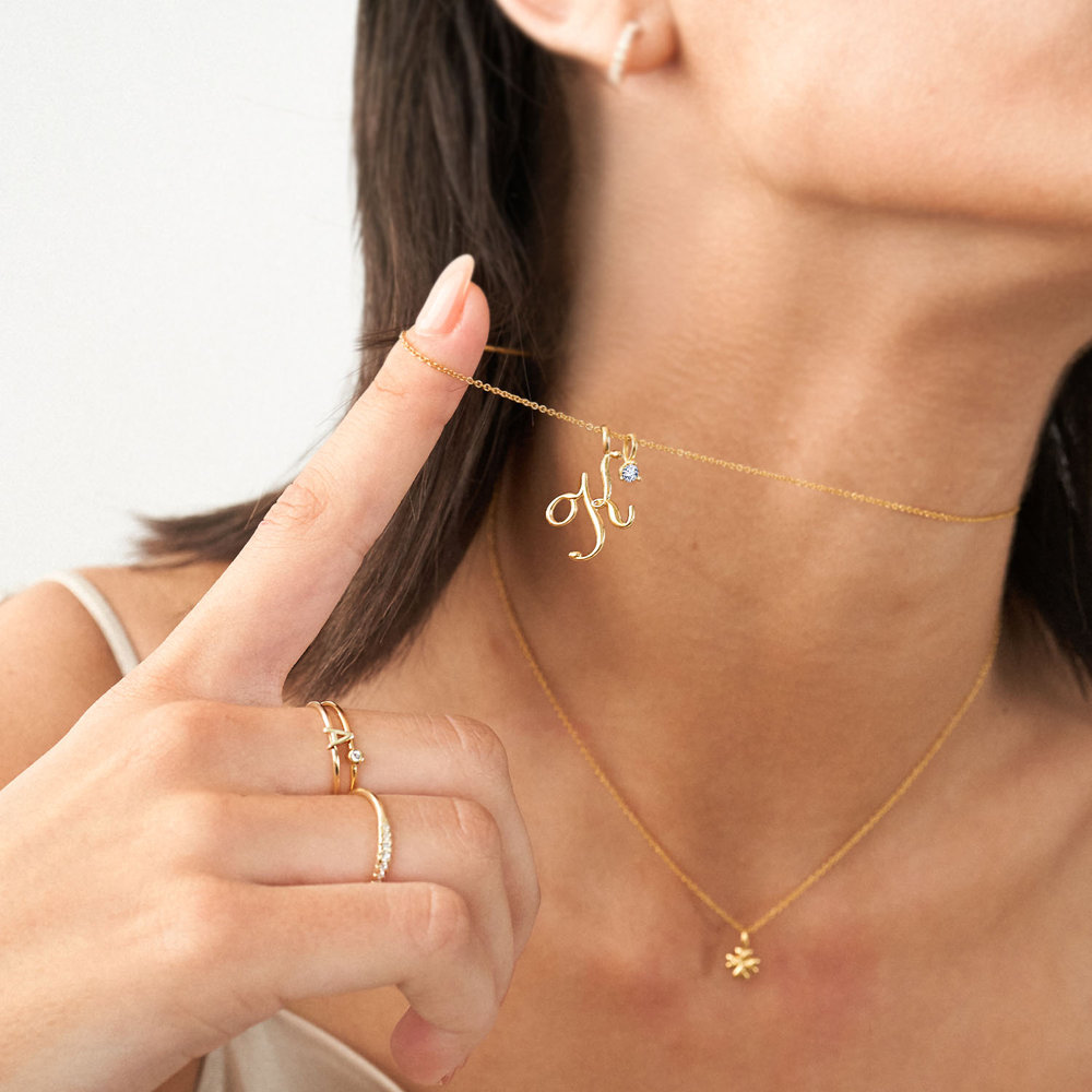 Nina Medium Initial Necklace - Gold Plating - 3