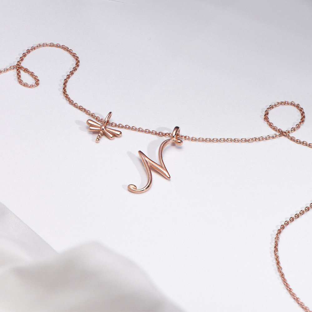 Nina Medium Initial Necklace - Rose Gold Plating - 1