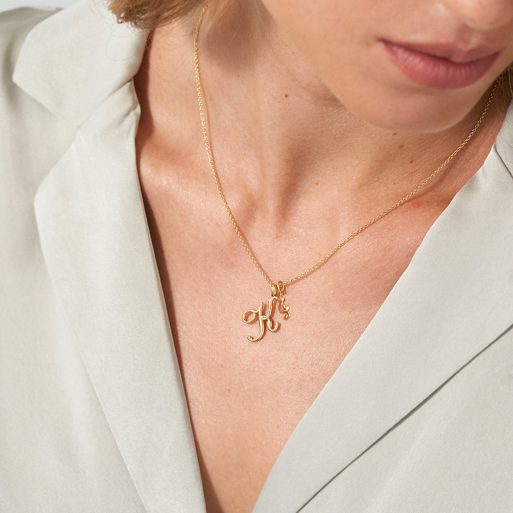Nina Medium Initial Necklace - Gold Vermeil - 2
