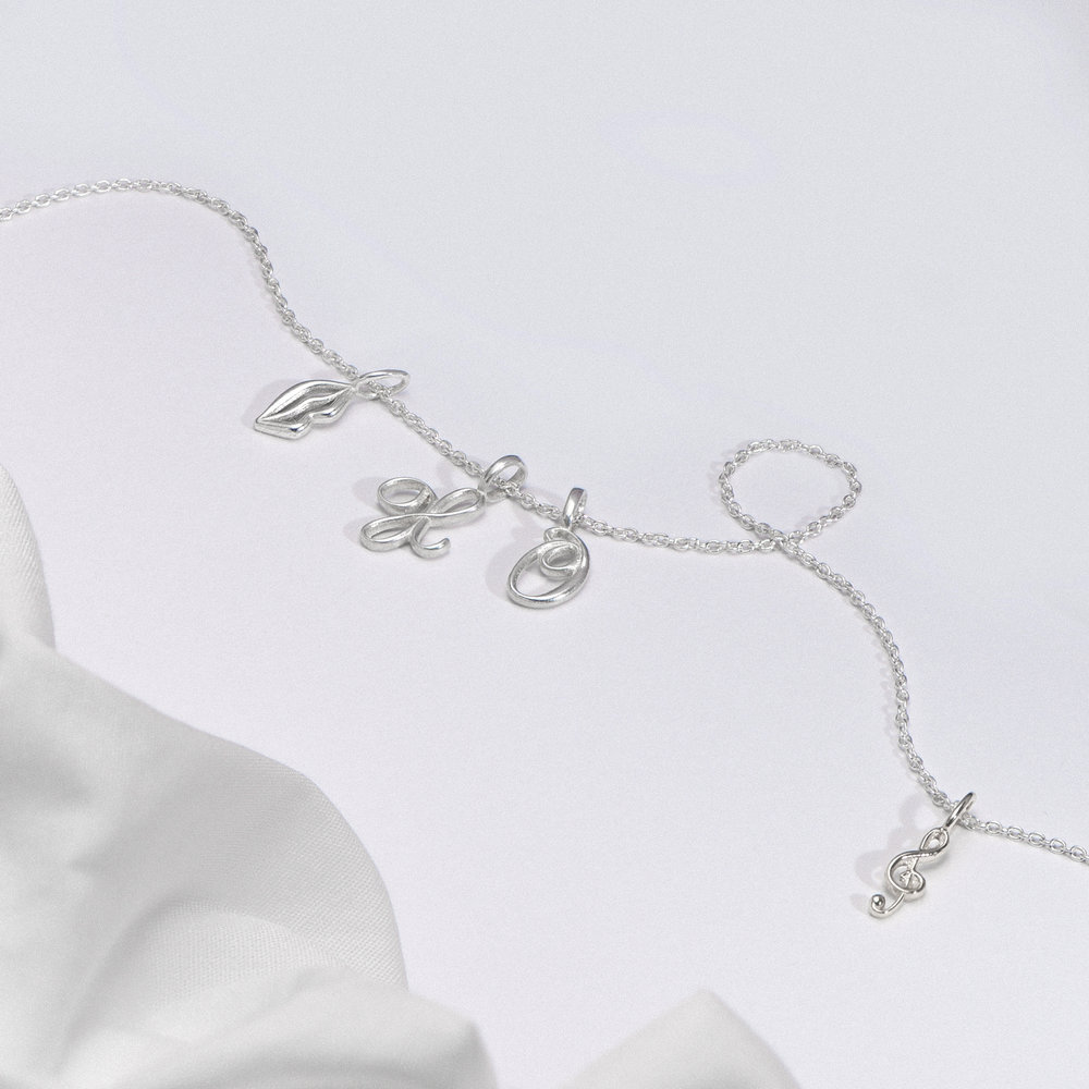 Nina Small Initial Musical Necklace - Silver - 1