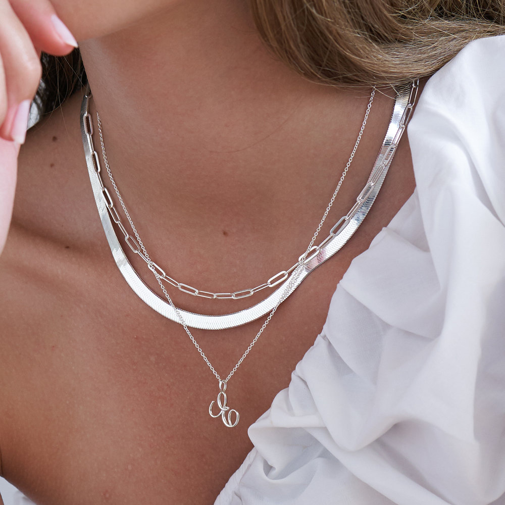 Nina Small Initial Musical Necklace - Silver - 2