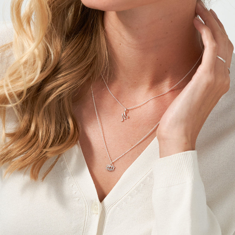 Nina Small Initial Musical Necklace - Silver - 3