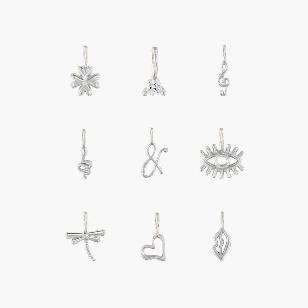 Nina Small Initial Musical Necklace - Silver - 4
