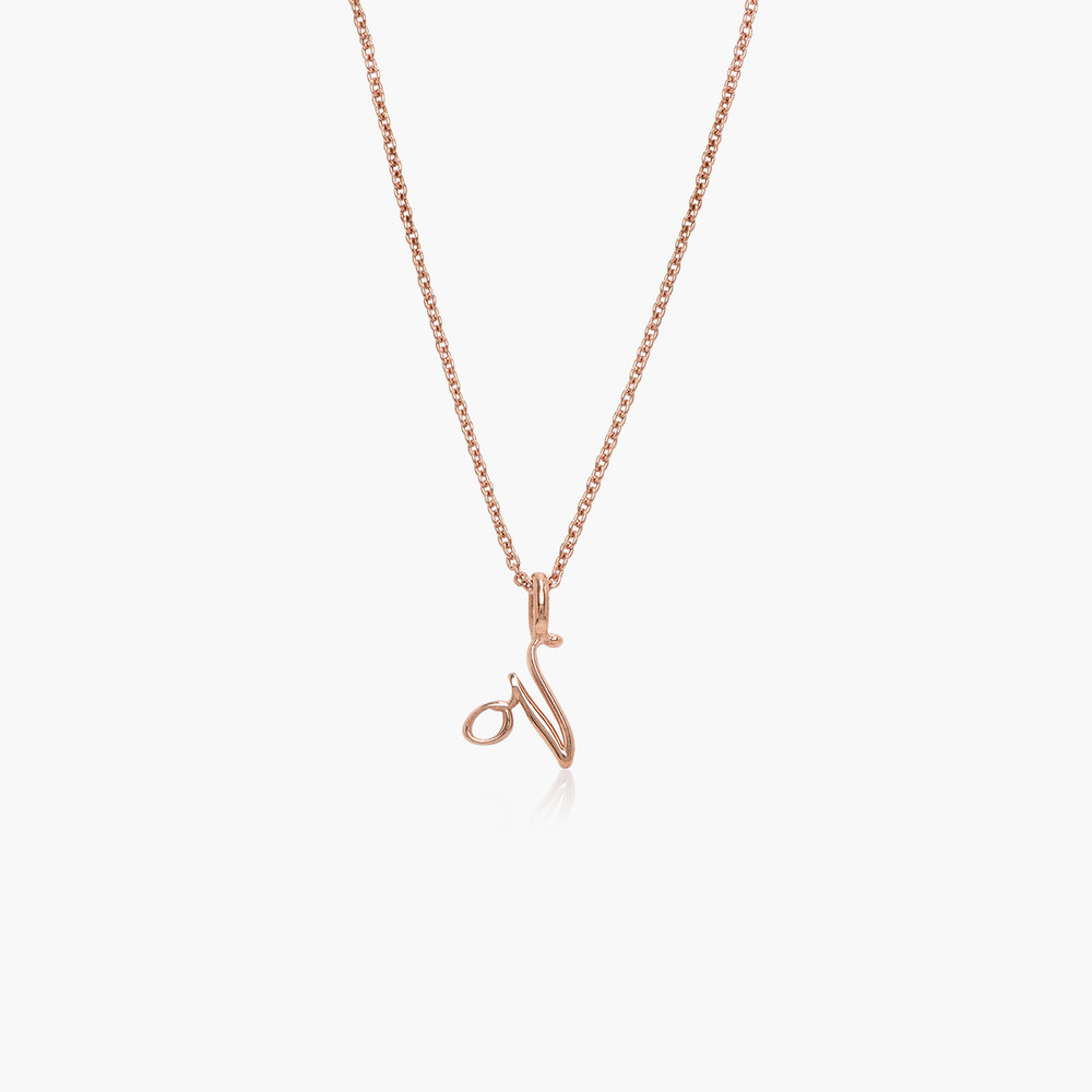 Nina Small Initial Musical Necklace - Rose Gold Plating