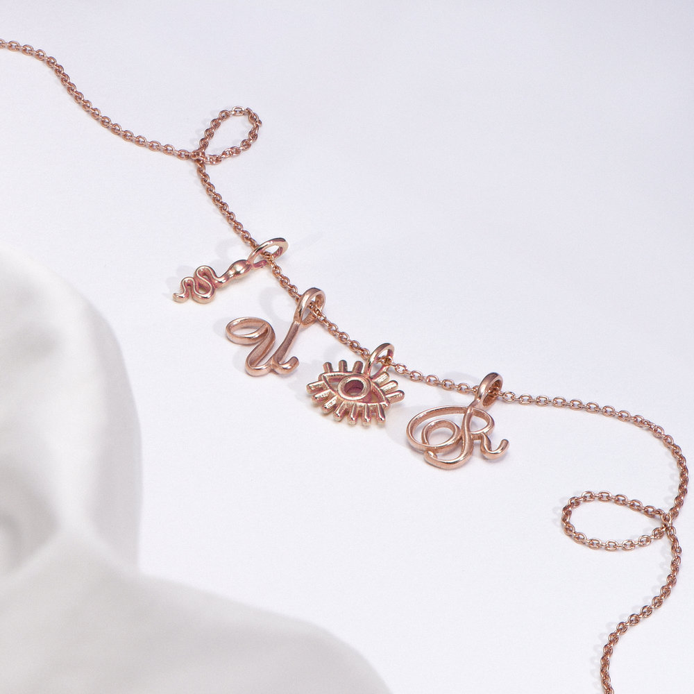 Nina Small Initial Musical Necklace - Rose Gold Plating - 1
