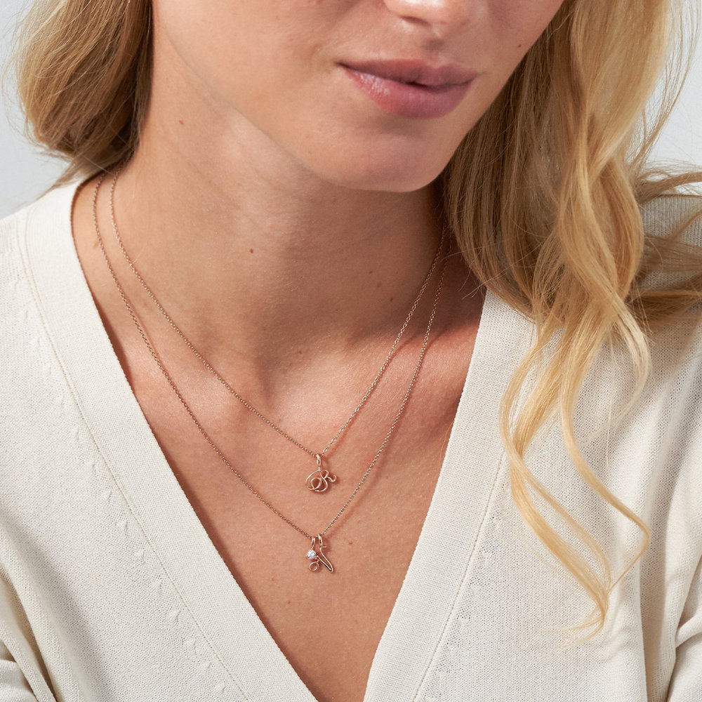 Nina Small Initial Musical Necklace - Rose Gold Plating - 2