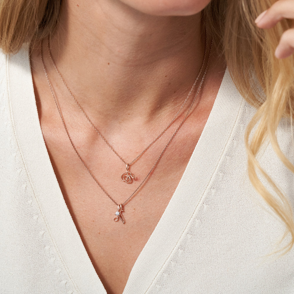 Nina Small Initial Musical Necklace - Rose Gold Plating - 3