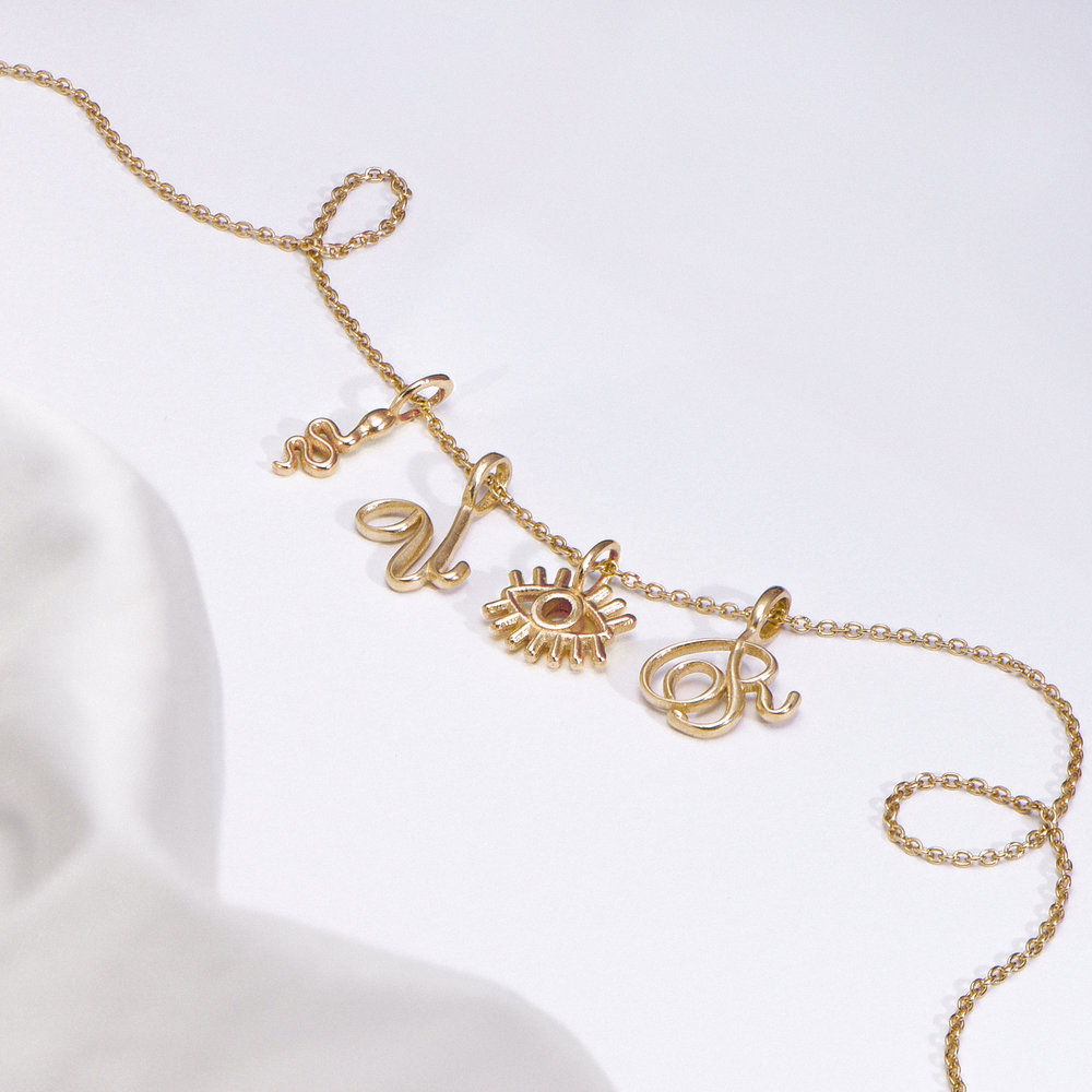 Nina Small Initial Musical Necklace - Gold Vermeil - 1