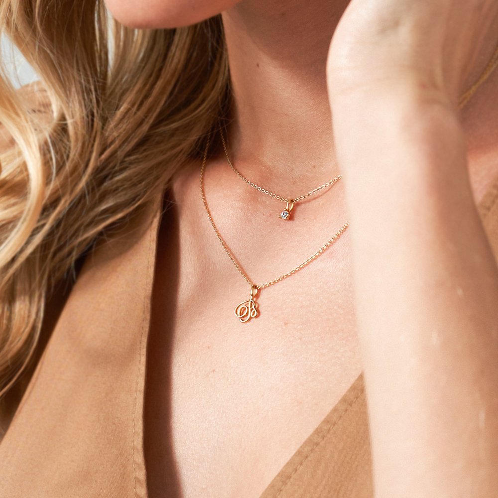 Nina Small Initial Musical Necklace - Gold Vermeil - 3