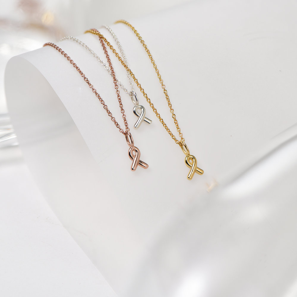 Breast Cancer Awareness Necklace - Gold Vermeil - 1