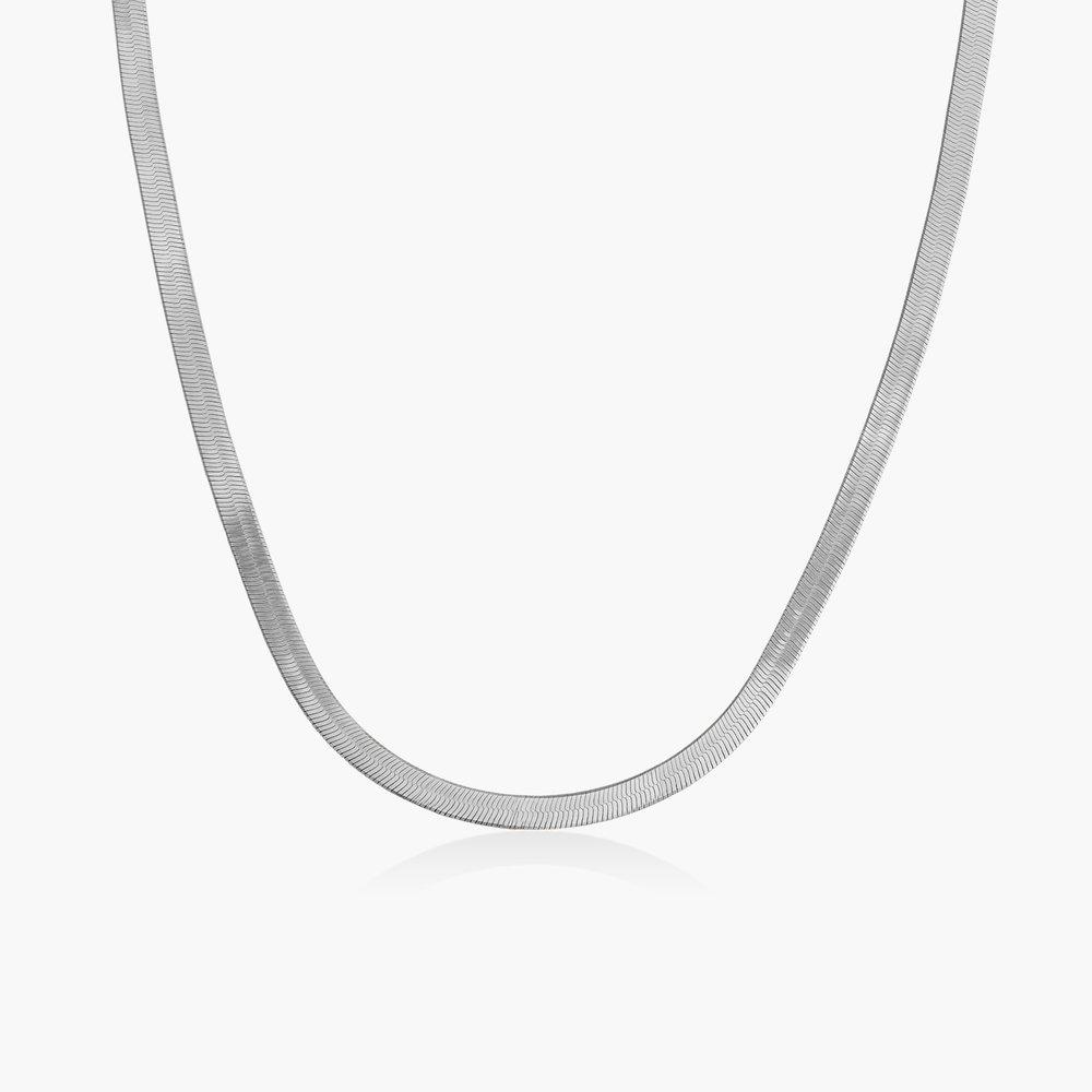 Herringbone Slim Chain Necklace - Sterling Silver
