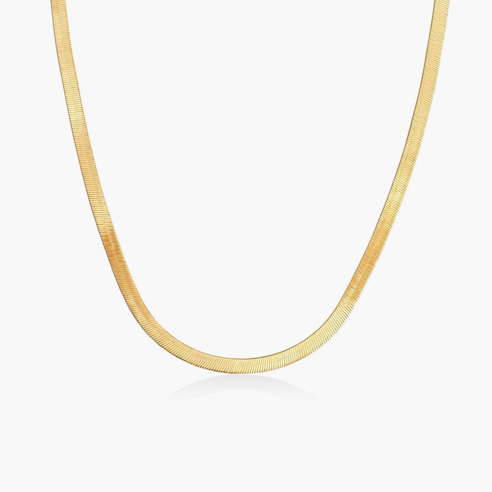 Herringbone Slim Chain Necklace - Gold Plated
