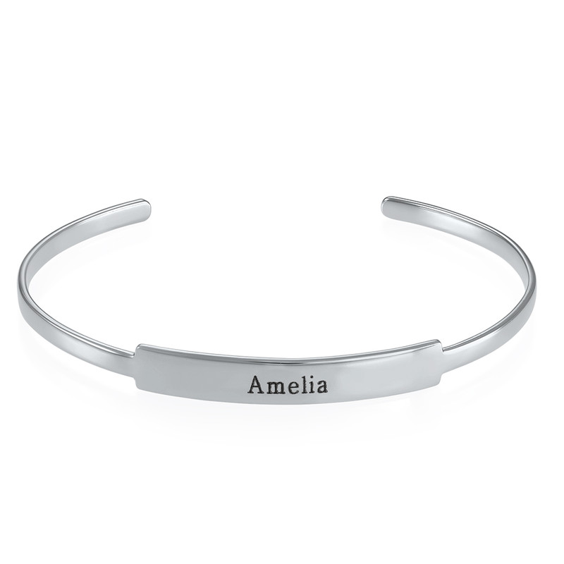 Open Name Bangle Bracelet - Sterling Silver