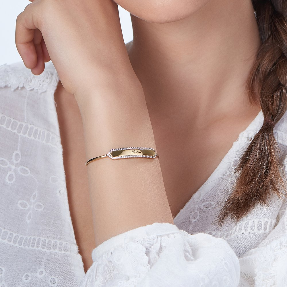 Luna Bangle with Cubic Zirconia - Gold Plated - 2