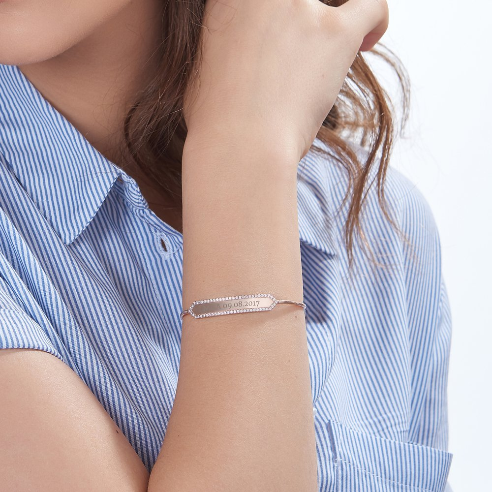 Luna Bangle with Cubic Zirconia - Rose Gold Plated - 2