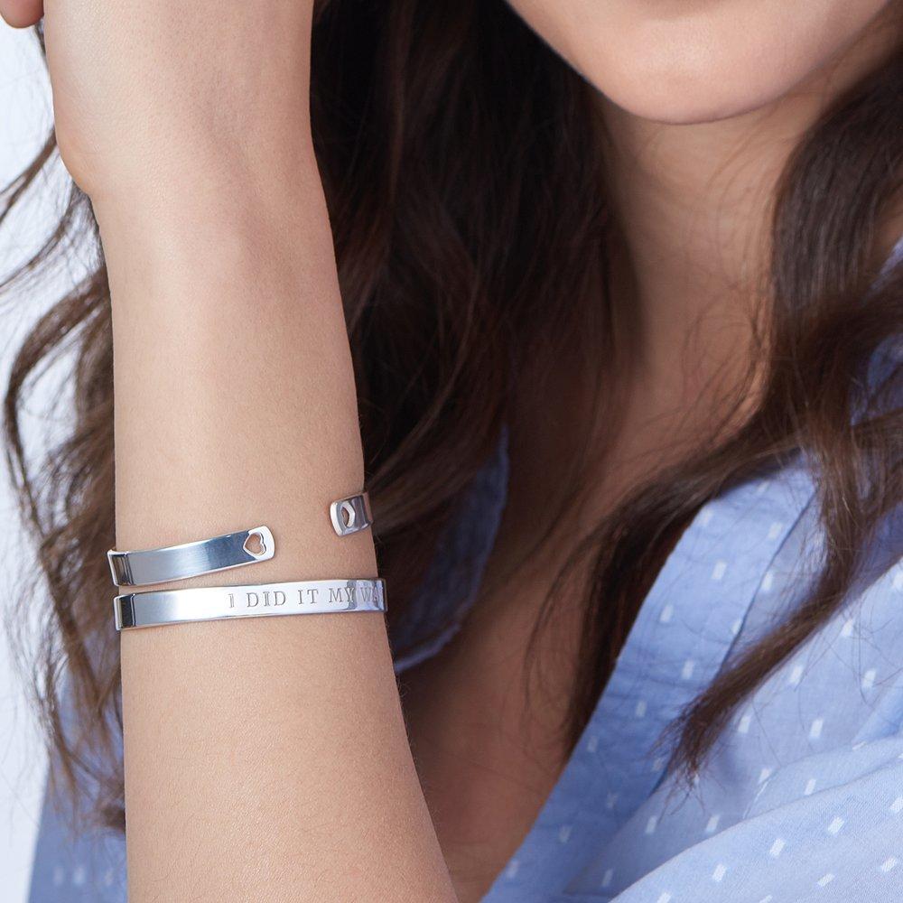 My Heart Bangle Bracelet - Silver - 3