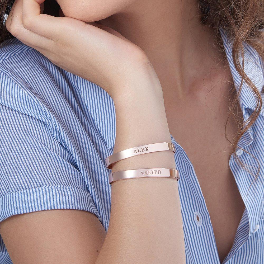 My Heart Bangle Bracelet - Rose Gold Plated - 3