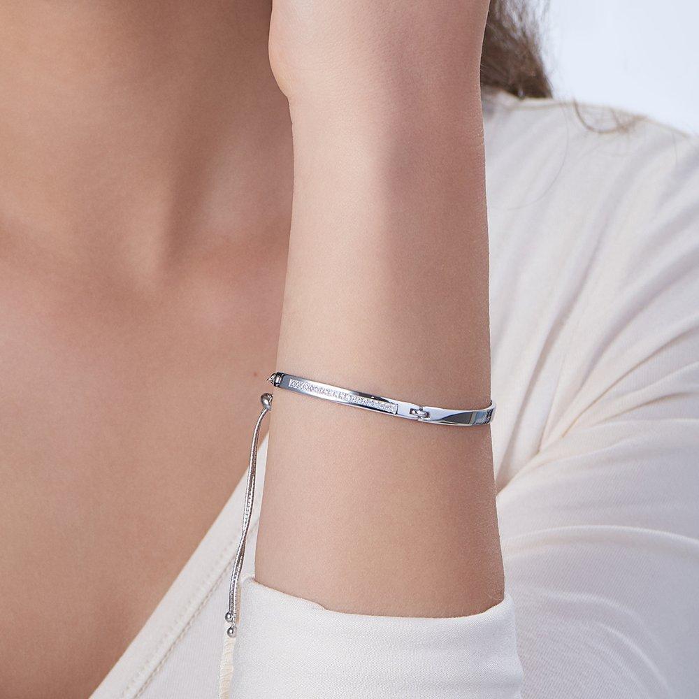 Luna Adjustable Name Bracelet - Silver - 3