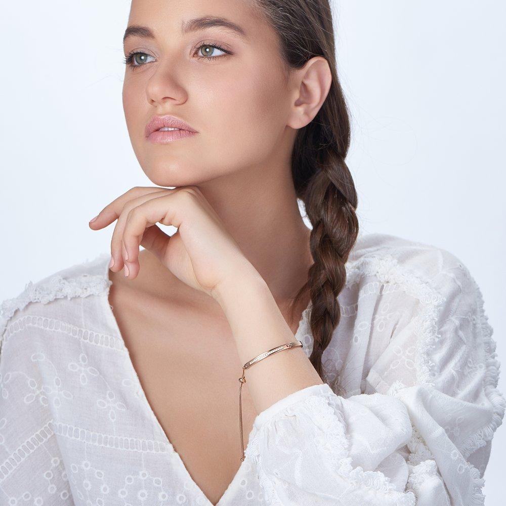 Luna Adjustable Name Bracelet - Rose Gold Plated - 2