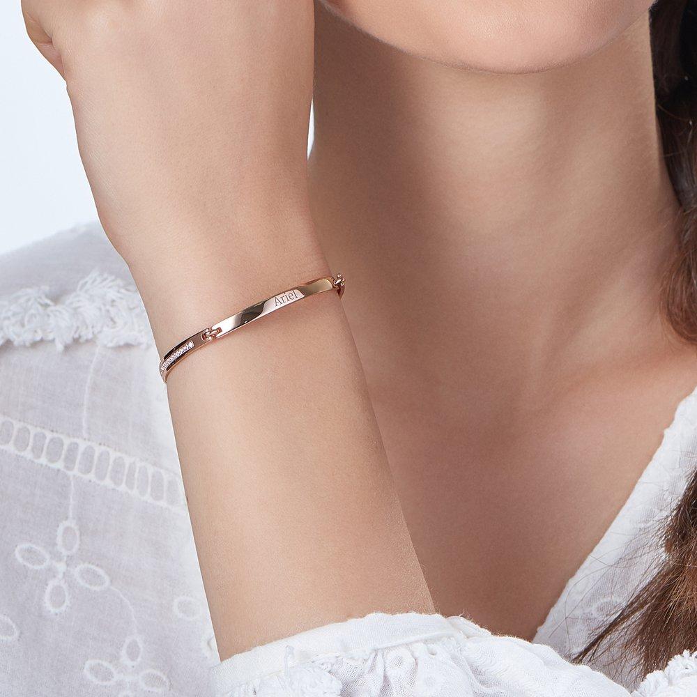 Luna Adjustable Name Bracelet - Rose Gold Plated - 3