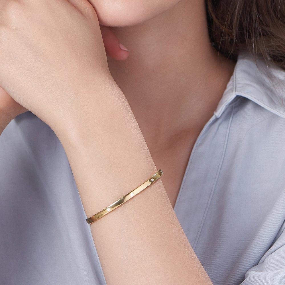 Luna 3 Stars Bangle Bracelet - Gold Plated - 2