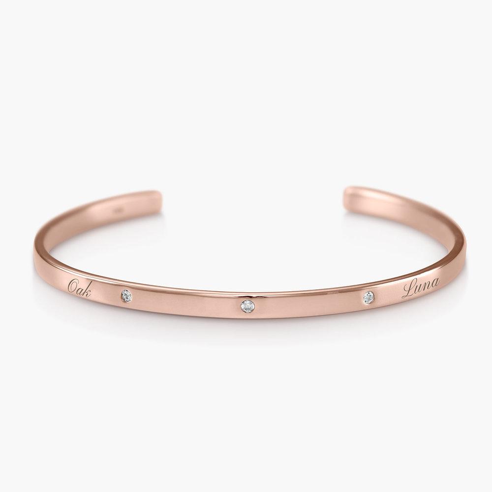 Luna 3 Stars Bangle Bracelet - Rose Gold Plated