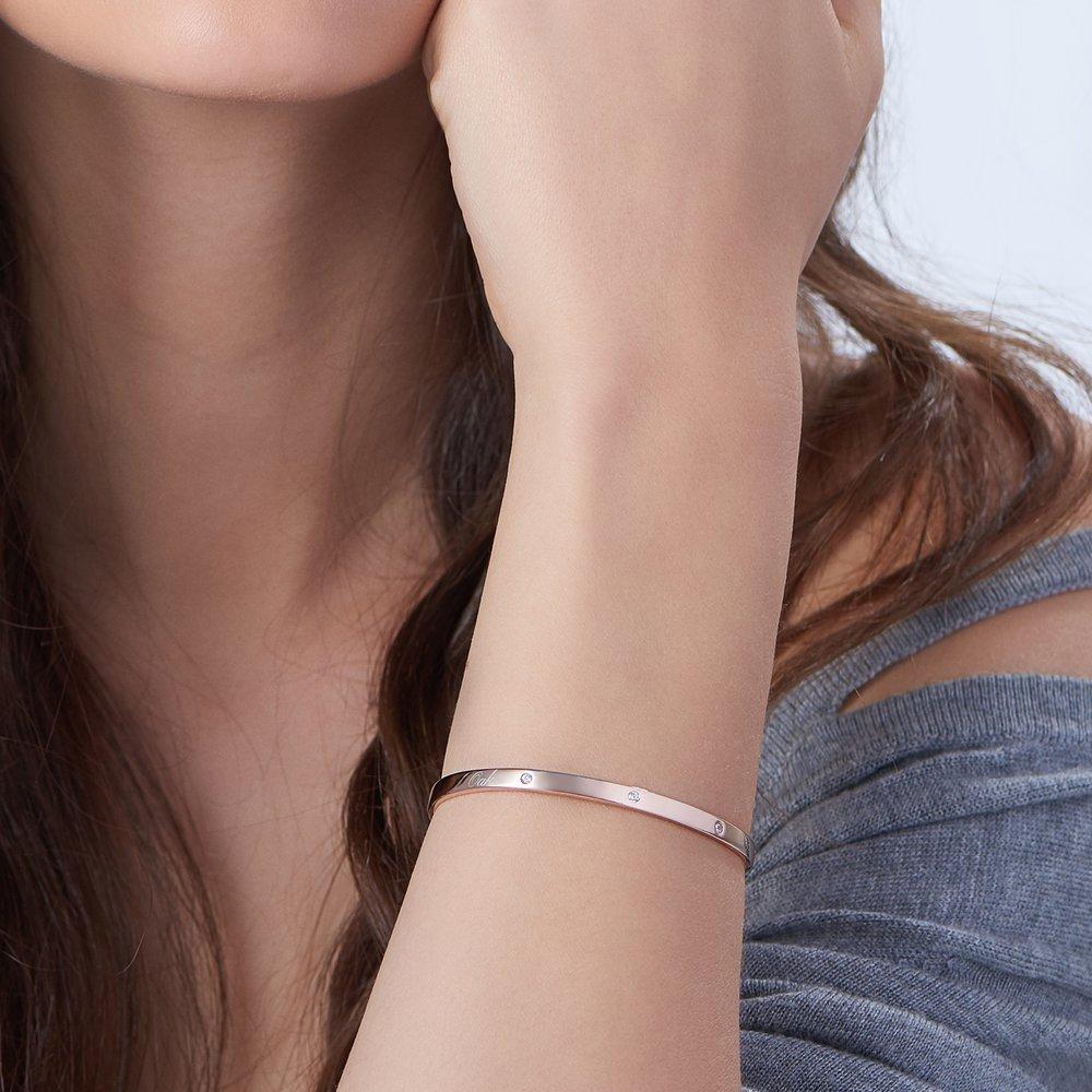 Luna 3 Stars Bangle Bracelet - Rose Gold Plated - 2