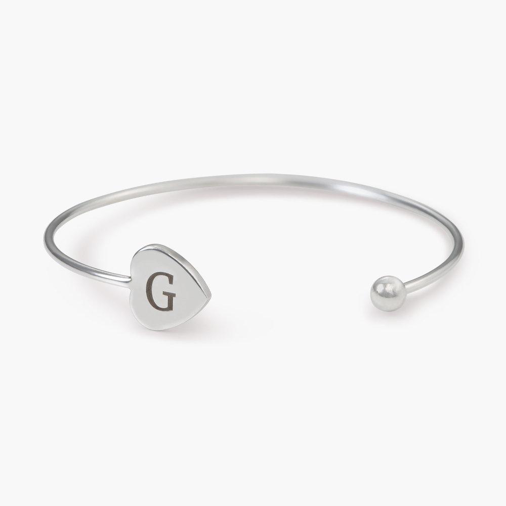Luna Heart Bangle Bracelet - Silver