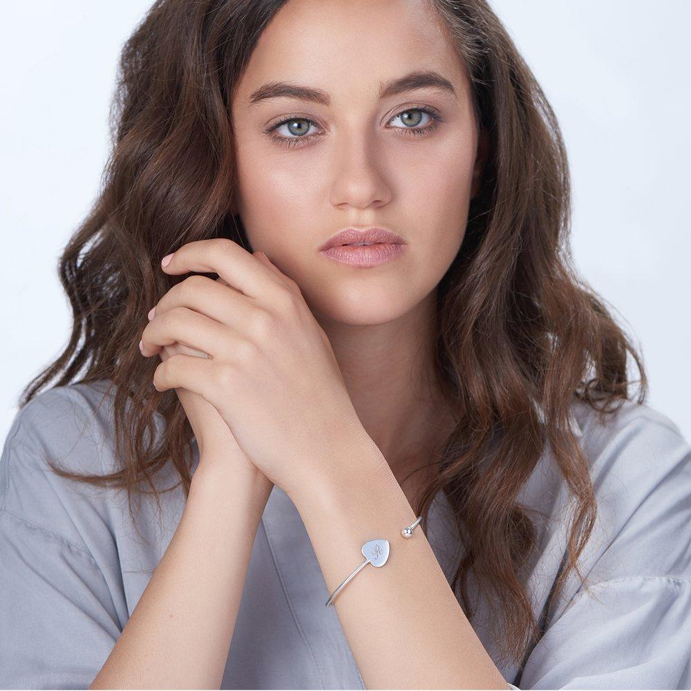 Luna Heart Bangle Bracelet - Silver - 1