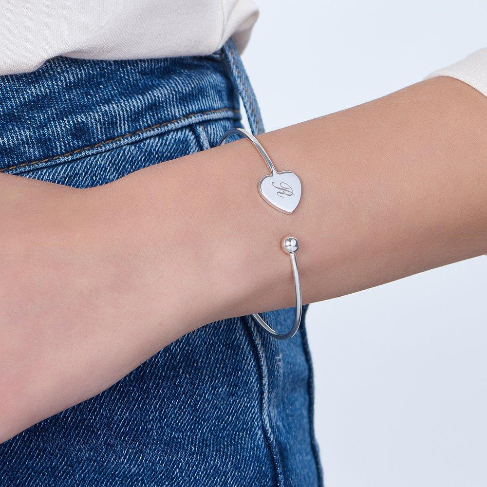 Luna Heart Bangle Bracelet - Silver - 2