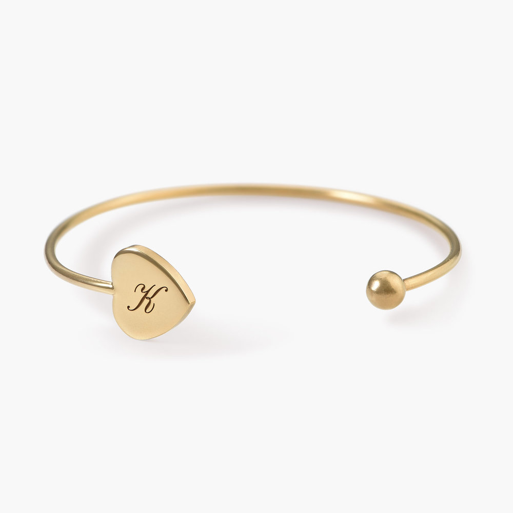 Luna Heart Bangle Bracelet - Gold Plated