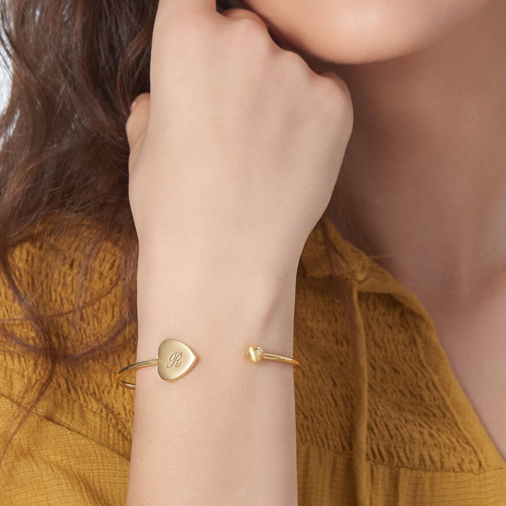 Luna Heart Bangle Bracelet - Gold Plated - 2