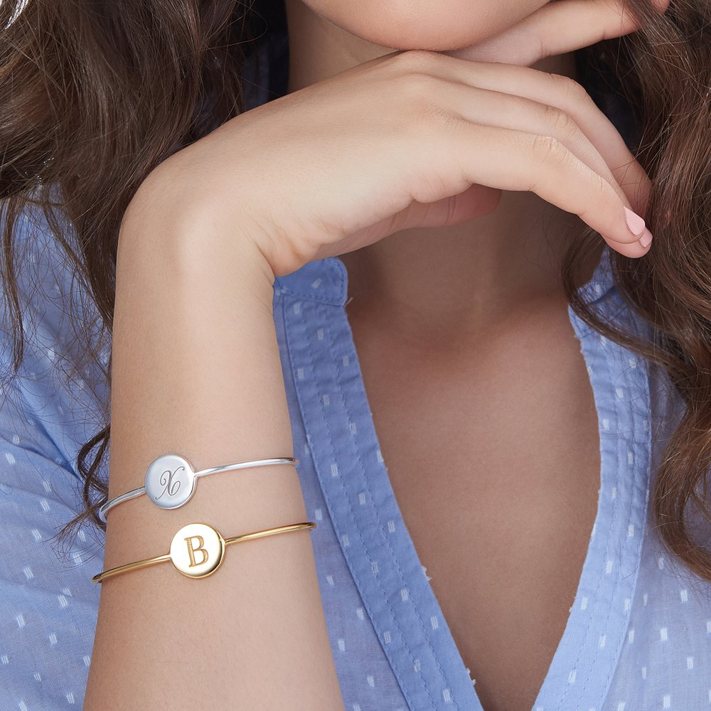 Luna Open Bangle Bracelet - Silver - 2