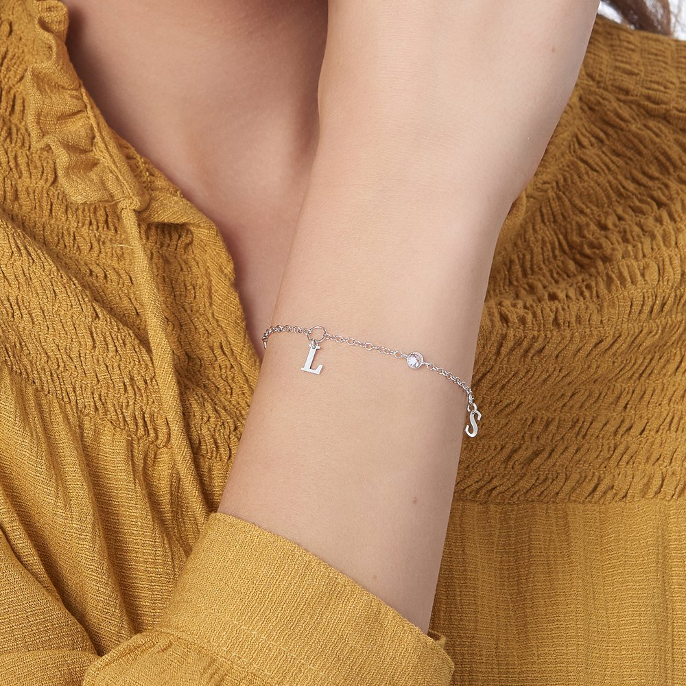 Cubic Zirconia Links Bracelet - Silver - 3