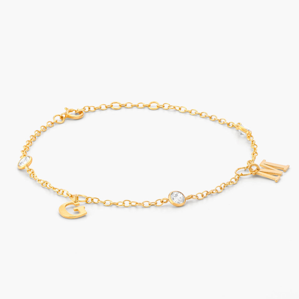 Initial bracelet with Cubic Zirconia - Gold Plated - 1