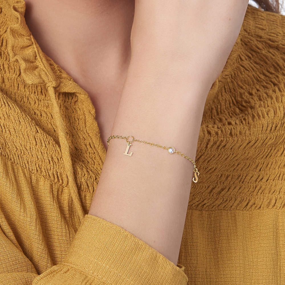 Initial bracelet with Cubic Zirconia - Gold Plated - 3