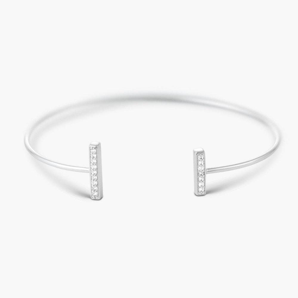 Open Double Bar Bangle Bracelet - Silver