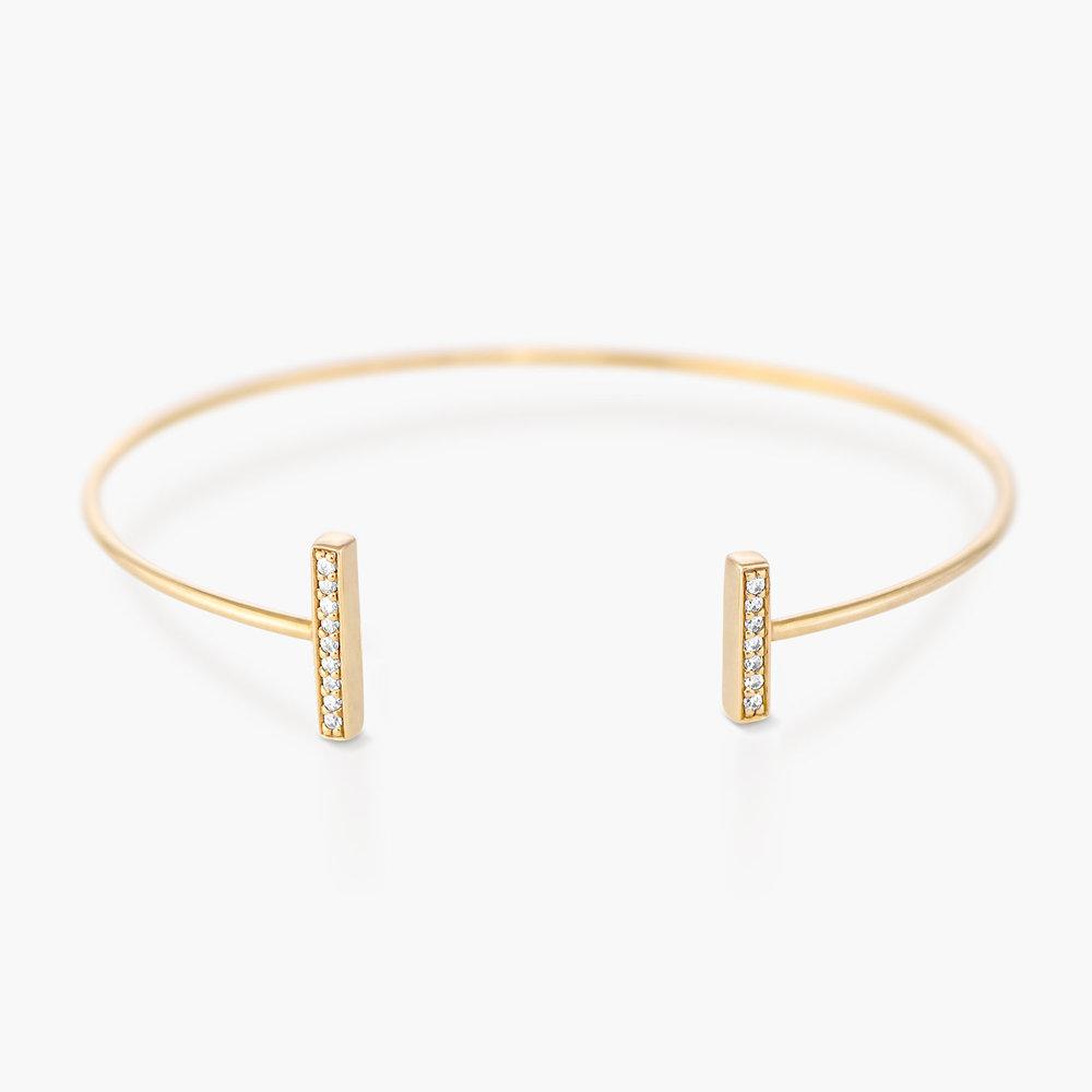Open Double Bar Bangle Bracelet - Gold Plated