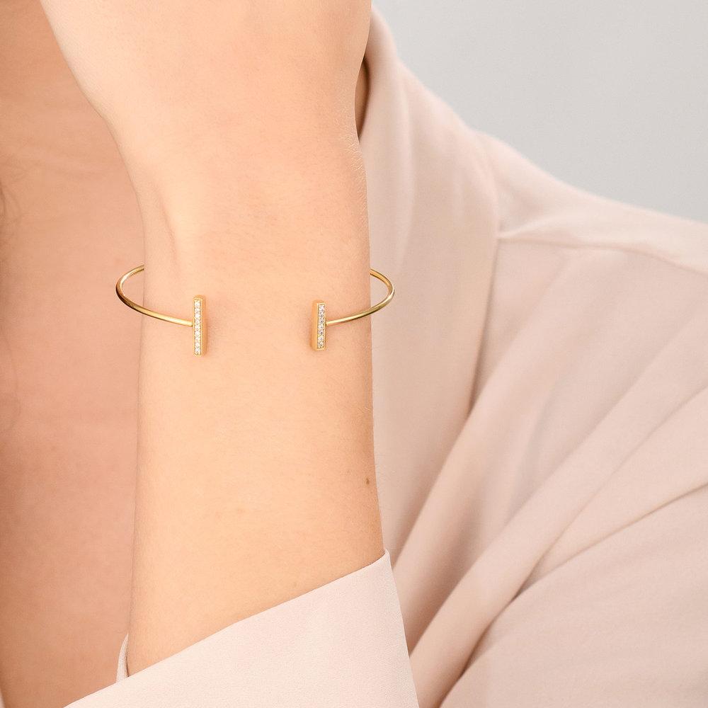 Open Double Bar Bangle Bracelet - Gold Plated - 2