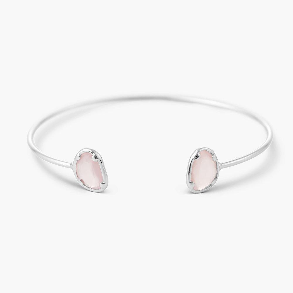 Pink Chalcedony Bangle Bracelet - Silver