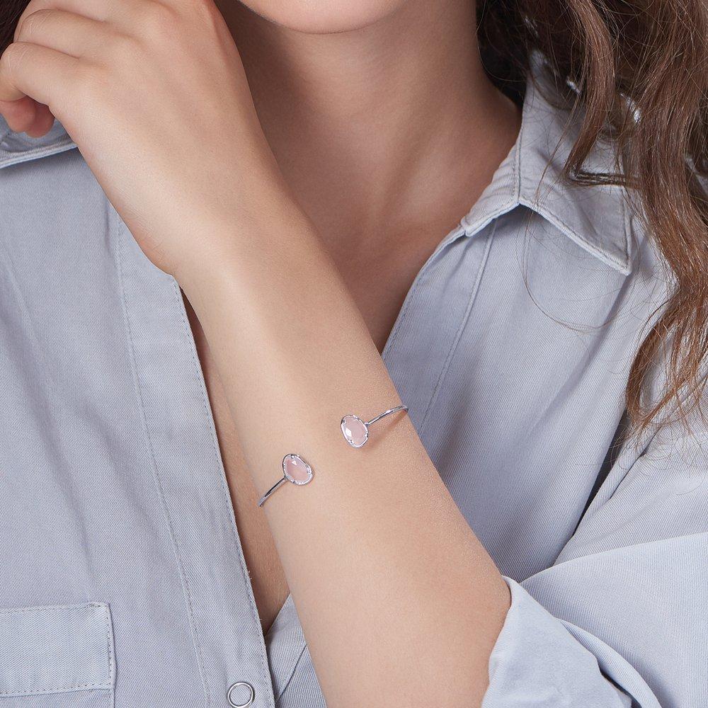 Pink Chalcedony Bangle Bracelet - Silver - 2