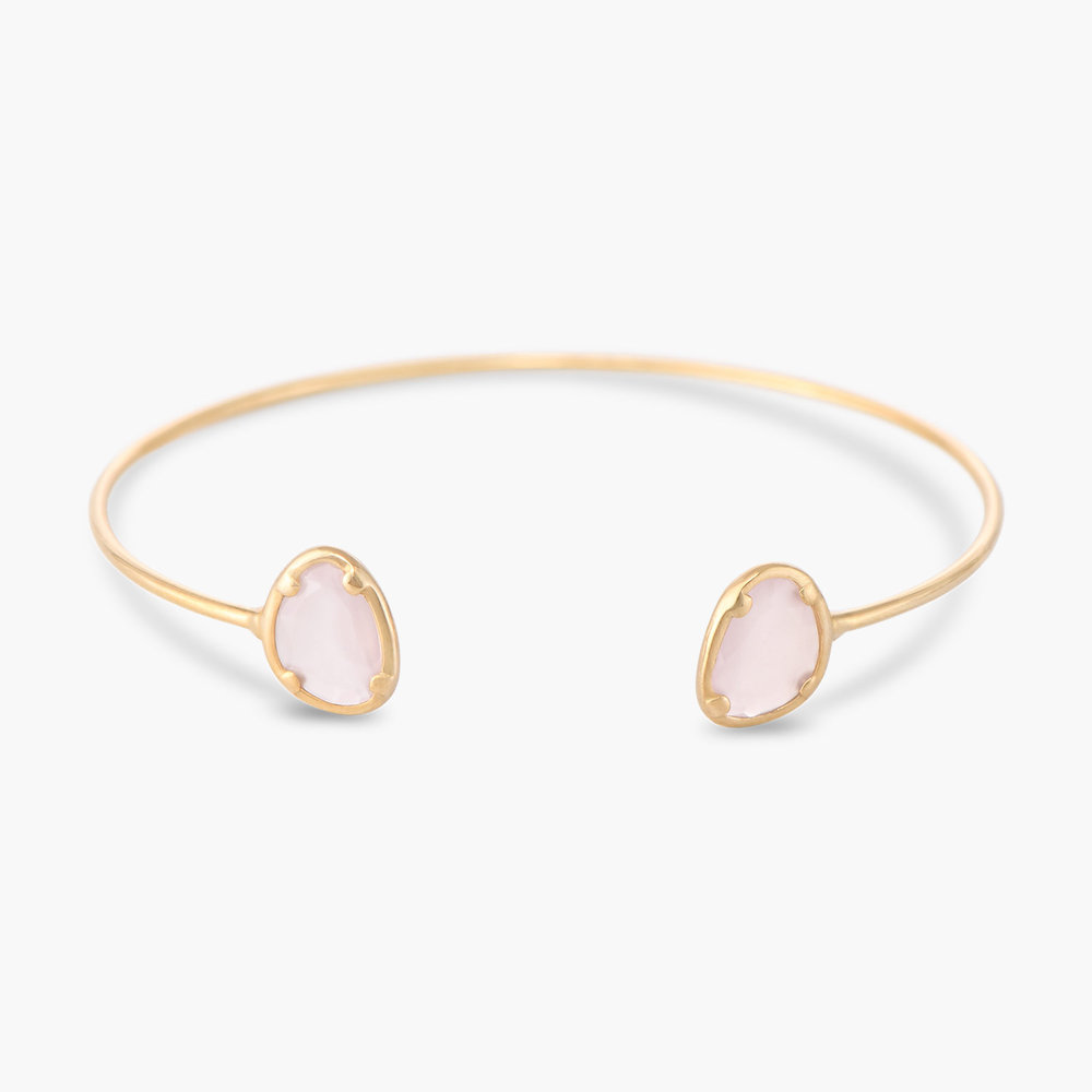Pink Chalcedony Bangle Bracelet - Gold Plated