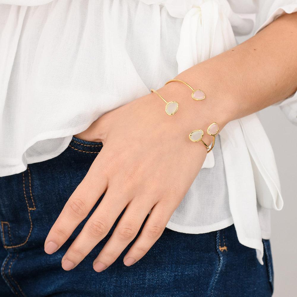 Pink Chalcedony Bangle Bracelet - Gold Plated - 3
