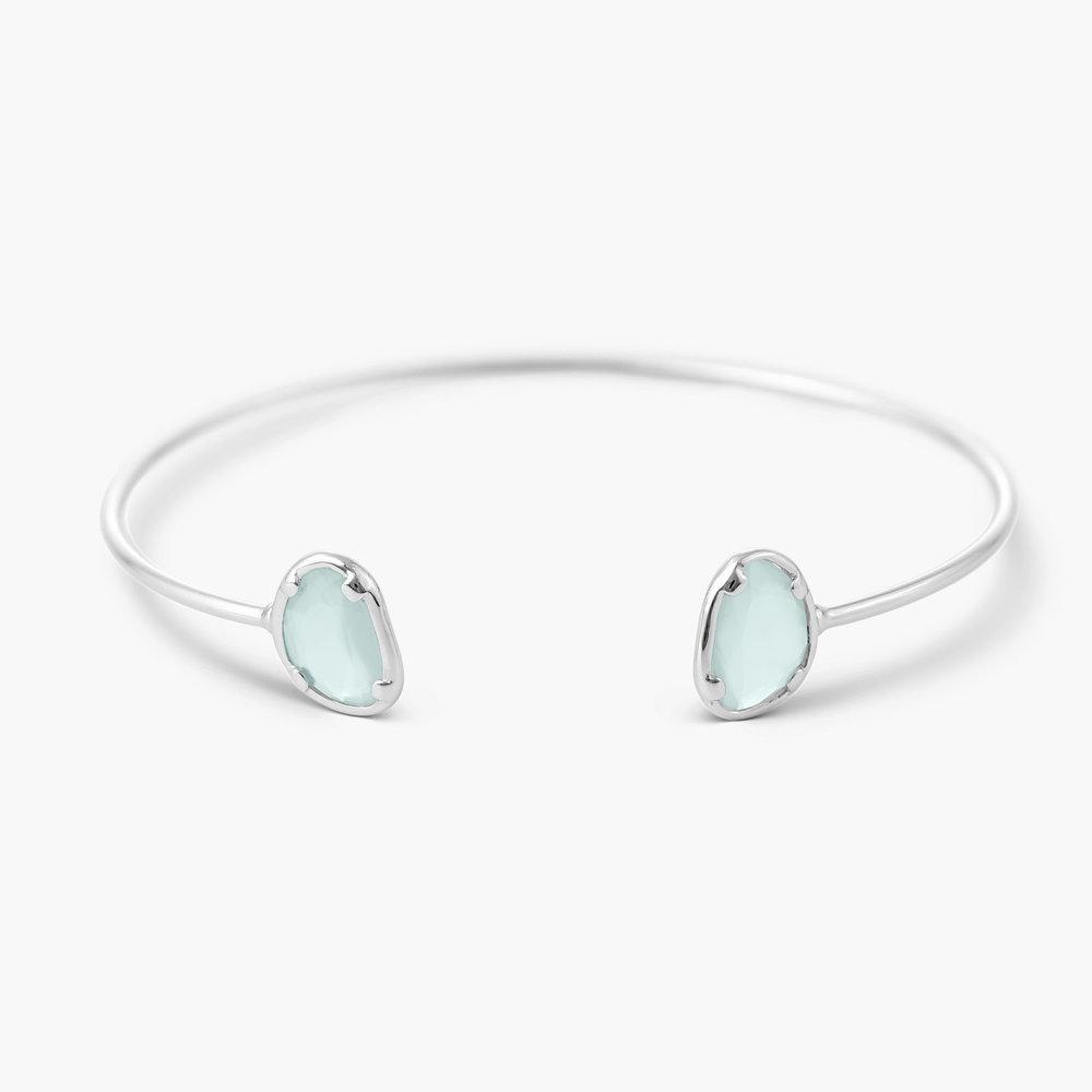 Blue Chalcedony Bangle Bracelet - Silver
