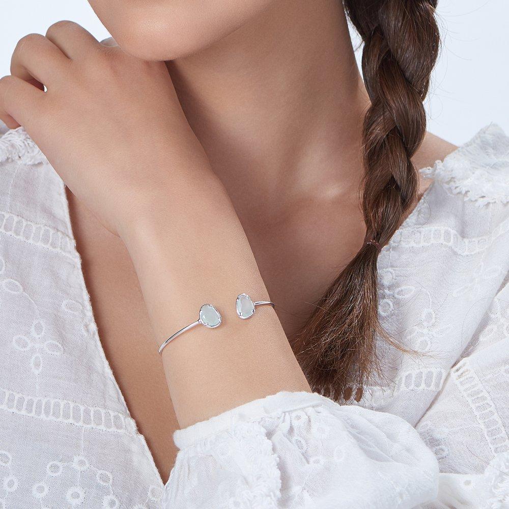 Blue Chalcedony Bangle Bracelet - Silver - 2