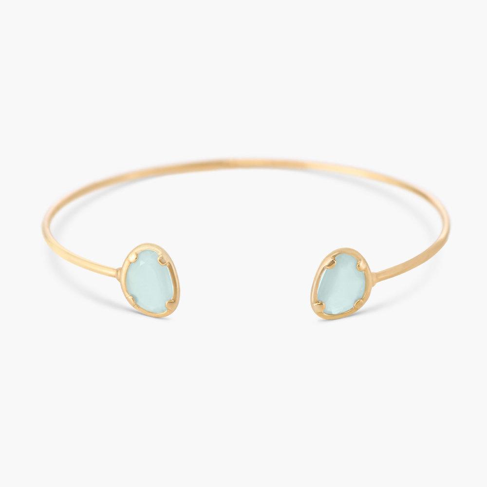 Blue Chalcedony Bangle Bracelet - Gold Plated
